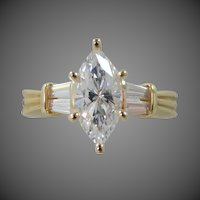 14k Solid Gold Marquise CZ Diamonique Lady's Size 9 Ring