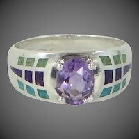 Coleman Co. Solid Sterling Silver Amethyst & Inlaid Turquoise Ring