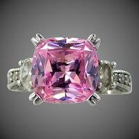 Sterling Silver Pink Diamonique CZ Lady's Filigree Art Deco Style Ring