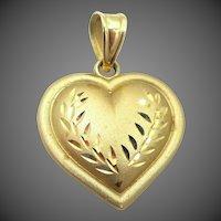 10k Gold Diamond Cut Heart Pendant