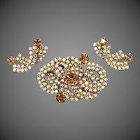 "1960's Aurora Borealis ""Eternity"" Rhinestone Pin & Matching Earrings"