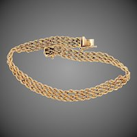 14k Solid Gold Diamond Cut Triple Strand Bracelet