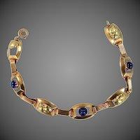 Vintage 10k Rose Gold & Green Gold Sapphires Bracelet