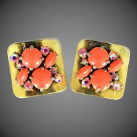 Schiaparelli Faux Coral Large Signed Earrings