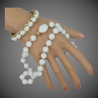 Trifari Milk White Glass Bangle Bracelet & Necklace
