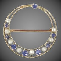 Victorian 10k Gold Seed Pearls & Montana Sapphires Filigree Pin