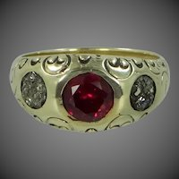 Victorian 14k Solid Gold Finely Etched Ruby & Iron Pyrite Man's Ring with Box