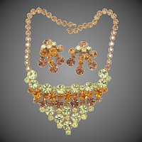 Phenomenal 1950's Dripping Bib Rhinestone Necklace and Matching Clip on Earrings