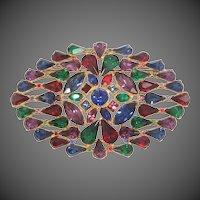 Pretty Jeweled Colors Art Deco Rhinestone Pin