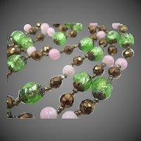 "Green Foiled Art Glass 55"" Long Art Deco Necklace"