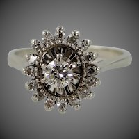 14k White Gold Halo Diamond Ring Wedding | Engagement Signed Fiancée