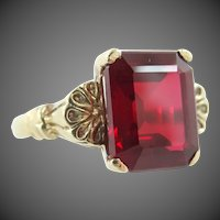 Retro 10k Gold Synthetic Ruby Size 7 1/2 Ring