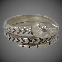 Sterling Silver Figural Serpent or Snake Ring Mexico Eagle 23 Signed AE