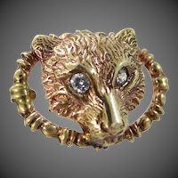 Victorian 9k Gold Figural Wolf Head with Diamond Eyes Tie Tack