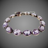 Victorian Sterling Silver & Natural Amethysts Bracelet 65 Carats!