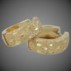14k Yellow Gold Brushed & Polished Reversible Hoop Earrings