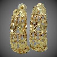 """14k Solid Gold Diamond Cut 1 1/8"""" Long Pierced Earrings 5.4 Grams"""