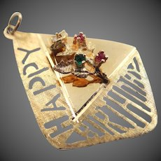 Large 14k Solid Gold Happy Birthday Charm