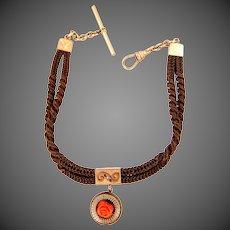Victorian Mourning Hairwork Watch Chain with Jewels & Coral