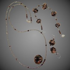 Nice Art Glass & Sterling Silver Necklace, Bracelet and Earrings Set