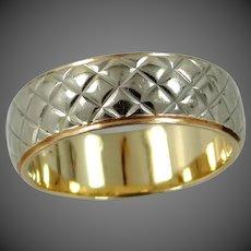 14k White & Yellow Gold Stacking Band with Snakeskin Pattern Wedding Ring