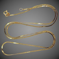 """Sturdy 14k Gold 22"""" Long Serpentine Chain Necklace"""