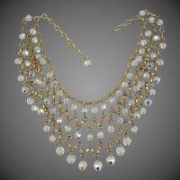 Pretty 1970's Aurora Borealis Glass Runway Bib Necklace