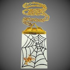 Neat Signed JJ Jonette Jewelry Lucite Spider Web with Spider Necklace