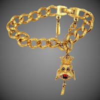 Monet Charm Bracelet with King Poodle Movable Head Charm