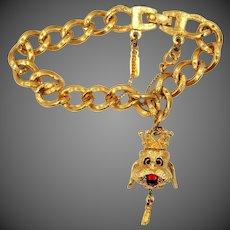 Monet Charm Bracelet with King Poodle Movable Head Charm