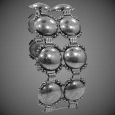 """1950's 1 1/2"""" Wide Sterling Silver Bracelet"""