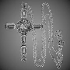 Mid Century Sterling Silver Stanhope Rhinestone Cross Necklace w/Lord's Prayer