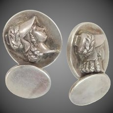 Victorian Solid Sterling Silver Cufflinks with Raised Image Cuff Links