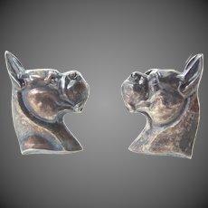 J.E. Caldwell Co. Sterling Silver Boxer Dog Screw Back Earrings