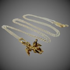 14k Gold Angel or Cupid Necklace