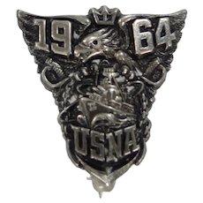 Vietnam Era 1964 USNA Sterling Silver Pin United States Naval Academy Navy
