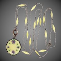 Victorian Sterling Silver & Guilloche Enamel Pendant Watch with Matching Chain