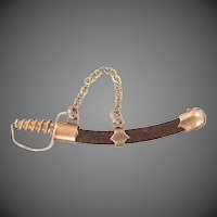 Victorian 10k Gold Hairwork FIgural Saber or Sword Charm
