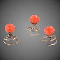 3 Victorian 10k Gold & Natural Coral Button Studs