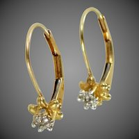 10k Gold Jacmel Lever Back Diamond Buttercup Earrings