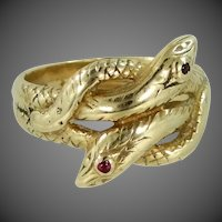 Victorian 14k Gold Entwined Double Serpents | Snakes Ring