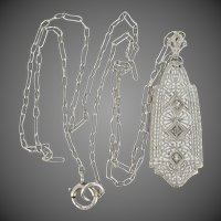 1930's Sterling Filigree Art Deco Necklace with Paperclip Chain