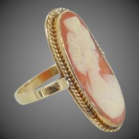 1930's 14k Gold Shell Cameo Ring