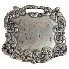 Sterling Silver Luggage Tag Converted into a Brooch