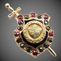 14k Gold Gemstones Marion Institute Badge 1920