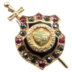14k Gold Gemstones Marion Institute Badge 1920
