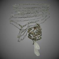 Art Deco Sterling Silver Lavaliere Necklace w/Pearl