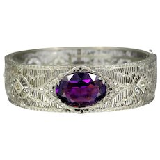 Art Deco Wide Filigree Bangle Bracelet