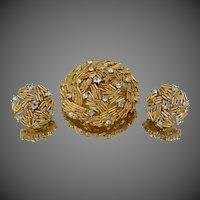 Trifari Bamboo Style Rhinestone Pin & Earrings Set