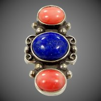 Shube's Sterling Silver Lapis & Coral Southwestern Style Ring